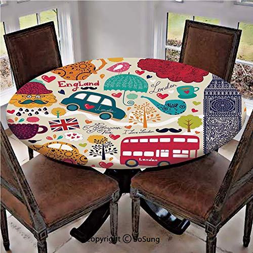 Elastic Edged Polyester Fitted Table Cover,Colorful Local Symbols Painting Red Bus Big Ben Tea Pot Cup Umbrella and Retro Cab,Fits up 45