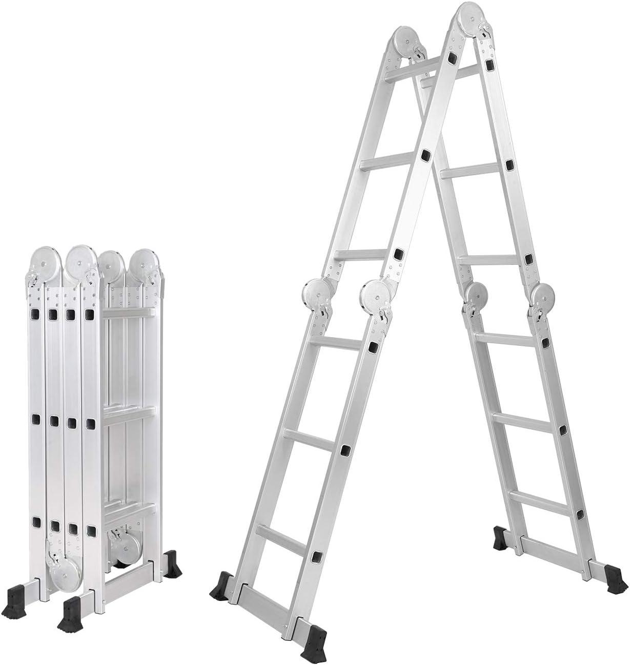 SogsHome 3.7M Escalera Multiuso Multifuncional Plegable Aluminio Escalera Telescópica Escalera Alta Multifuncional Portátil para Loft 12 Escalones Antideslizantes ,SH-KS-MS-403G: Amazon.es: Bricolaje y herramientas