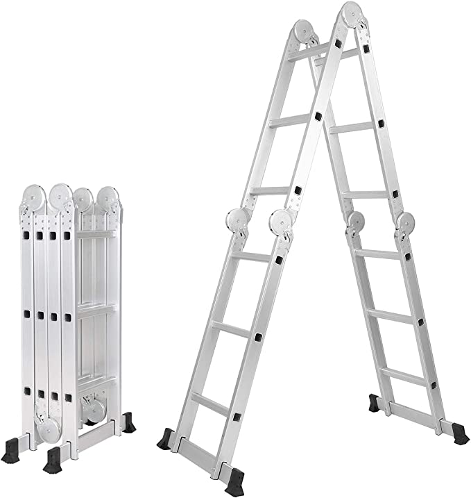 DlandHome 3,7M Escalera Multifunción 6 en 1 Escalera de Aluminio Plegable Escalera Articulada, Máx. Carga de Capacidad de 150 kg: Amazon.es: Bricolaje y herramientas