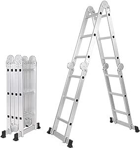 sogesfurniture Escalera Multifunción de aluminio 6 en 1 Multiuso Escalera de Tijera 3.7M Escalera Telescópica, ajustable y plegable, Capacidad de 150 kg, BHEU-KS-JF-403G: Amazon.es: Bricolaje y herramientas