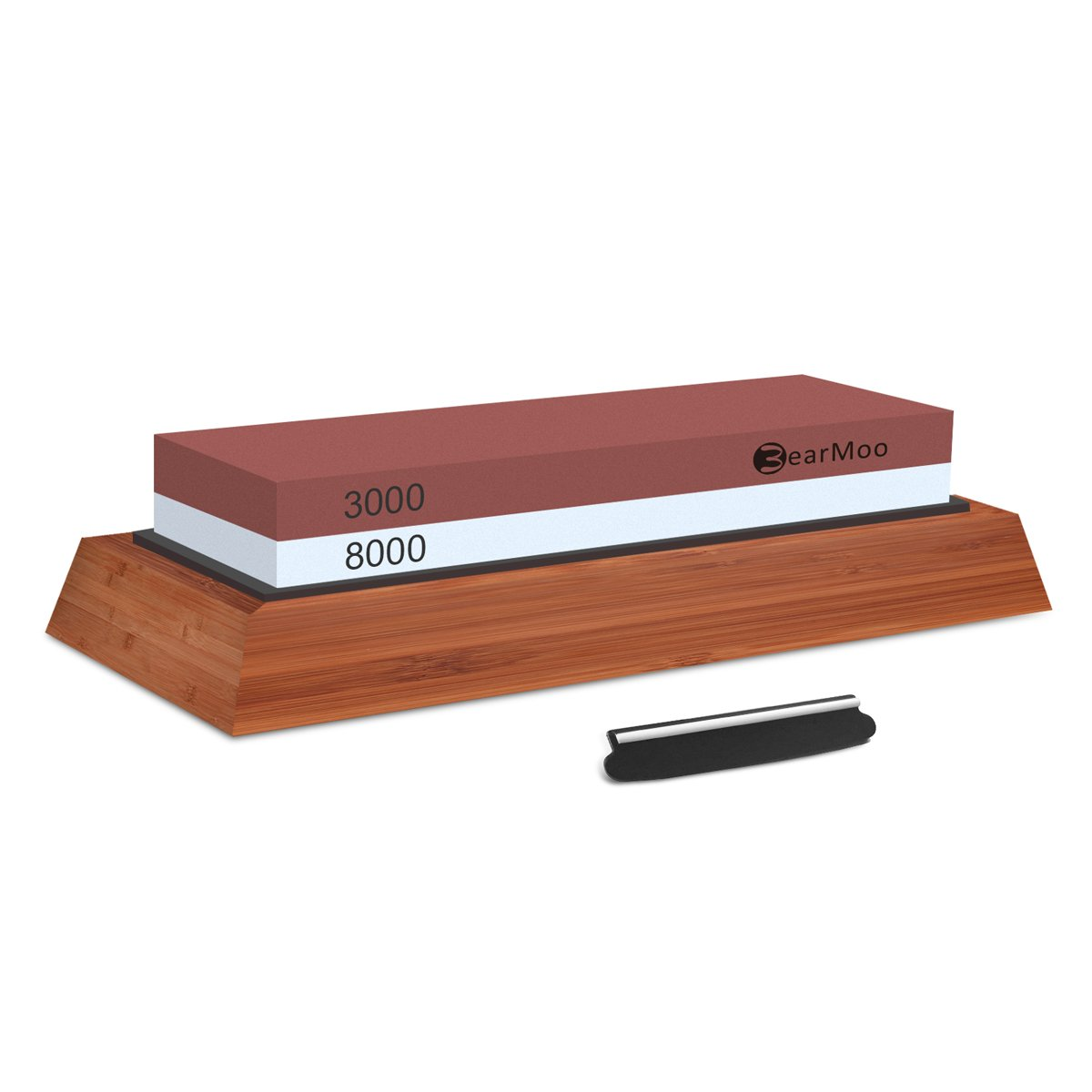 Knife Sharpening Stone, BearMoo Professional Waterstones Combination Grit 3000/8000 Whetstone Sharpening with Bamboo Base, Blade Guide Sharpener Stone SS05