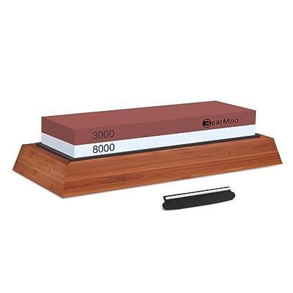 Piedra de afilar, Bearmoo afilador de agua 3000/8000 Grano kit de piedra de afilar base de madera y guía del cuchillo incluido
