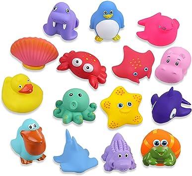 Oferta amazon: Lictin Juguetes de Baño para Bebé Niños - 15PCS Juguetes de Natación del Flotante, Seguro sin BPA, Animales Marinos Coloridos para Bebés Baño Piscina Playa
