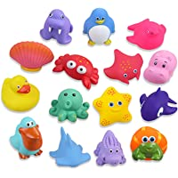 Lictin Baby Bath Toys-15PCS Bath Toys Baby Toys Floating Swimming Toys BPA Free Bath Squirters Toys Colorful Ocean…
