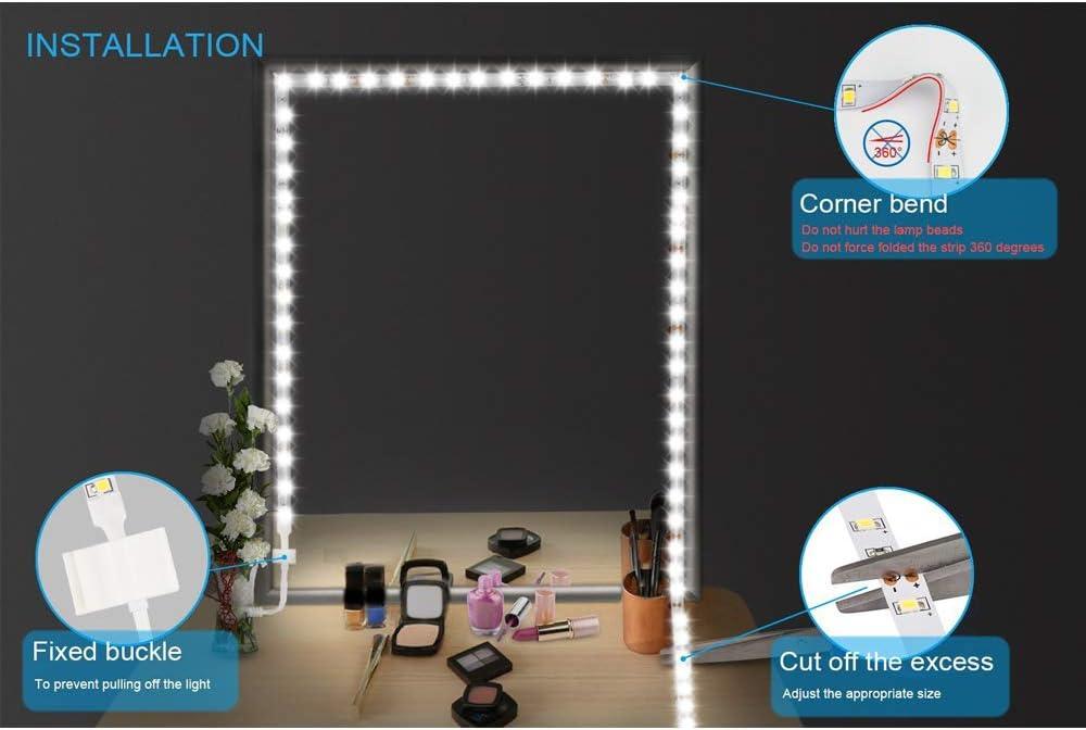 Dewanxin Spiegelleuchte 4M//13Ft Led Spiegelleuchte 6000k Dimmbar f/ür Schminktisch mit Beleuchtung.Schminklicht Schminklampe 240 LED Make-Up Spiegel Streifen Bar Eitelkeit Spiegel Make-Up Lampe
