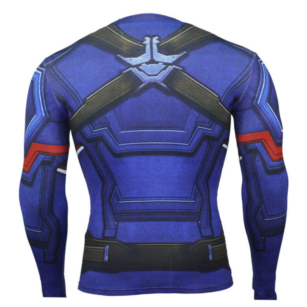 Long Sleeve Compression Top Tee Captain America Running Tee