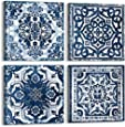 Bedroom Decor Canvas Wall Art Indigo Flower Pattern Prints Bathroom Abstract Pictures Modern Navy Framed Wall Decor Artwork for Walls Hang for Bedroom 4 Pieces Wall Decoration Size 20x20 Each Panel