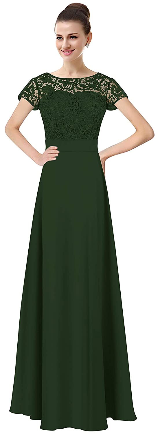 Dark Green Lily Anny Womens Long Lace Bridesmaid Dresses Prom Gown with Short Sleeves L061LF