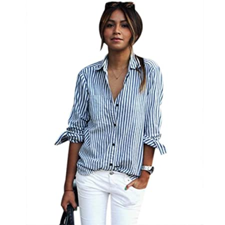 f00834f3b63474 Womens Newest Striped Tunic Blouse, Kanpola Ladies Long Sleeve Loose Casual  T-Shirt Short Lapel Tops Printed Button Down Shirt: Amazon.co.uk: Kitchen &  Home