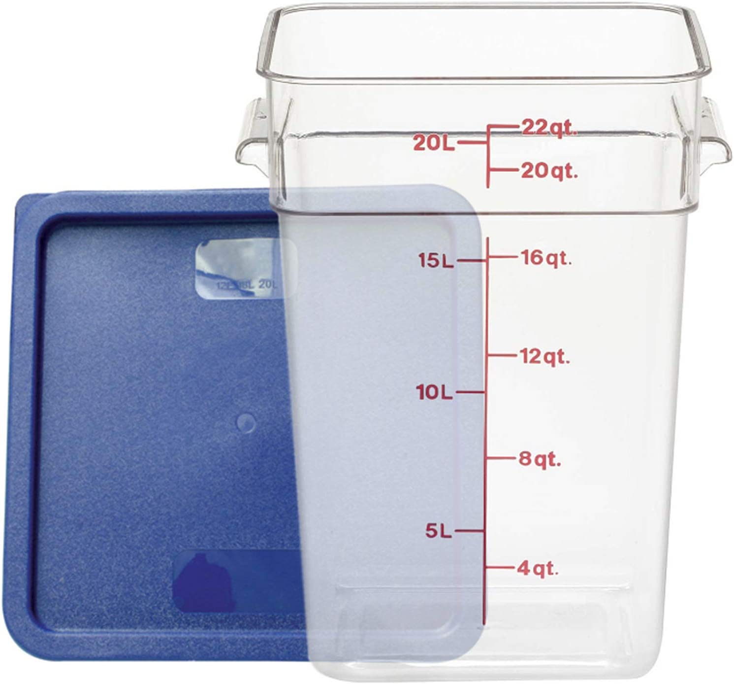 Tiger Chef 22 Quart Commercial Grade Clear Food Storage Square Polycarbonate Container With Blue Lid