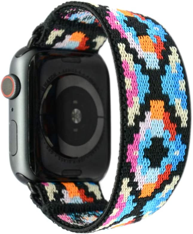 Tefeca Geometry Pattern Elastic Compatible/Replacement Band for Apple Watch 42mm/44mm (Black Adapter, S fits Wrist Size : 6.0-6.5 inch)