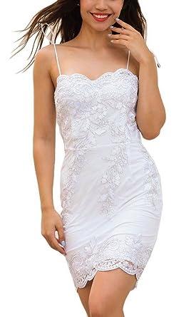 260a2b60a4eb7 YiyiLai Robe Courte Femme Dentelle Broderie Bretelle Bandage sans Manche  Soirée Mariage Elégant: Amazon.fr: Vêtements et accessoires
