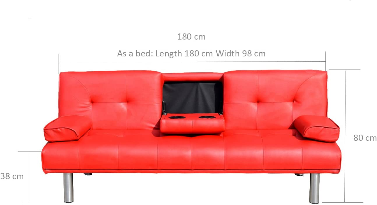 Cherry Tree Furniture Black ACRUX 3-Seater Sofa Bed Sleeper Sofa with Cup Holders /& Cushions