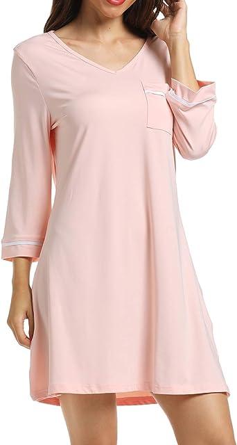 Ritera Camisón Mujer Casual Verano Camisones de Algodon Manga Corta Ropa de Dormir Cuello en V Pijamas Vestir Camisónes, M-XL: Amazon.es: Ropa y accesorios
