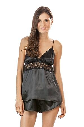 62082440ee Ashford   Brooks Women s Satin Cami and Shorts Pajama Set - Black - Small