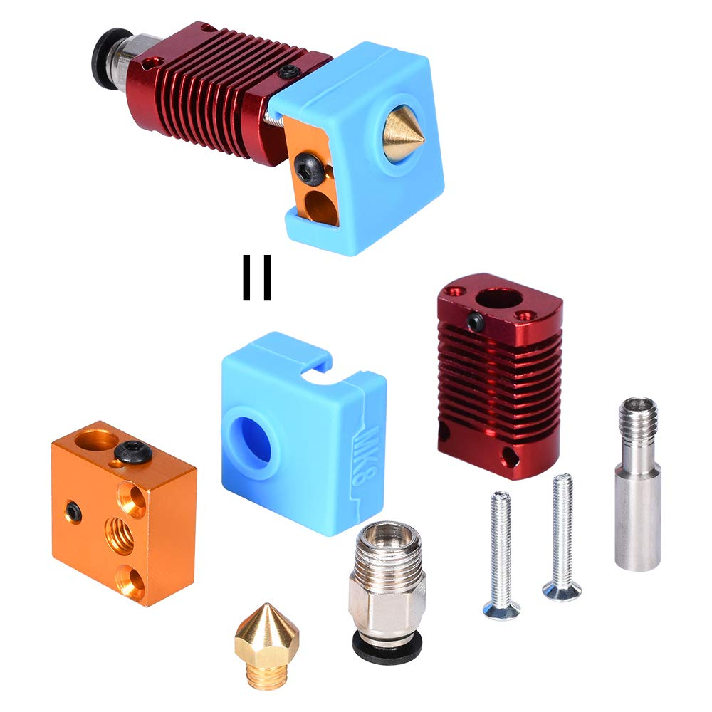 BZ 3D MK8 Hotend Assembly 12V//24V 40W//50W MK8 Extruder 1.75mm 0.4mm Nozzle for CR10// CR-10S// CR-10S4// CR-10S5 Ender 3//Pro//Ender 5 3D Printer Parts 24V50W Ender3//PRO