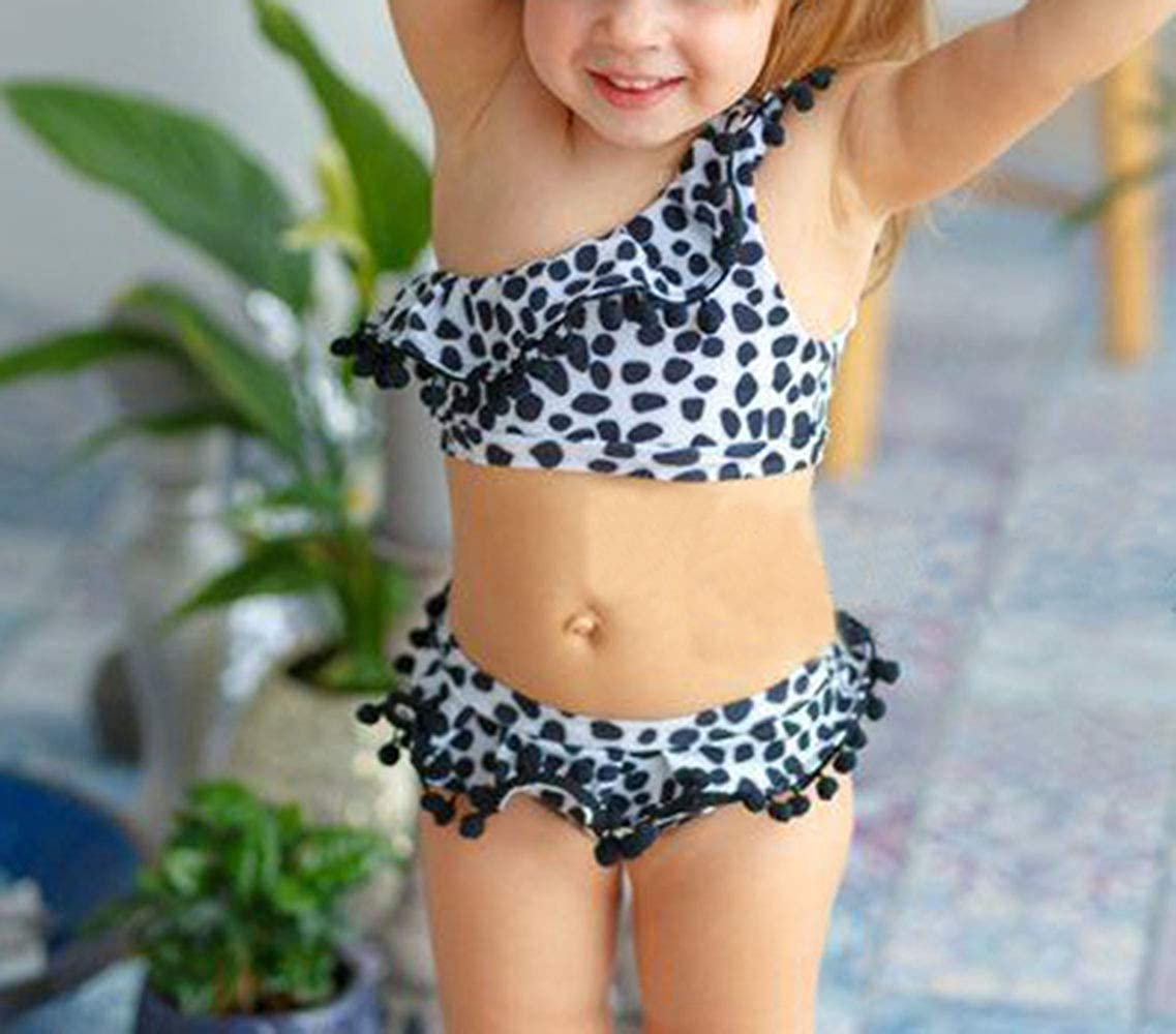Hwaikun Toddler Baby Girl Swimsuit Leopard 3Pcs Girl Bikini Sets Swim Cover-up Girl Blouse