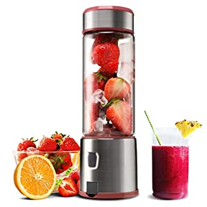 Portable Blender, KACSOO 5200mAh USB Rechargable Cordless Blender for Smoothie and Shakes, 15OZ Glass Personal Juicer Blender with FDA, BPA Free for Travel, Gym, Picnic, Office, Home, Kitchen