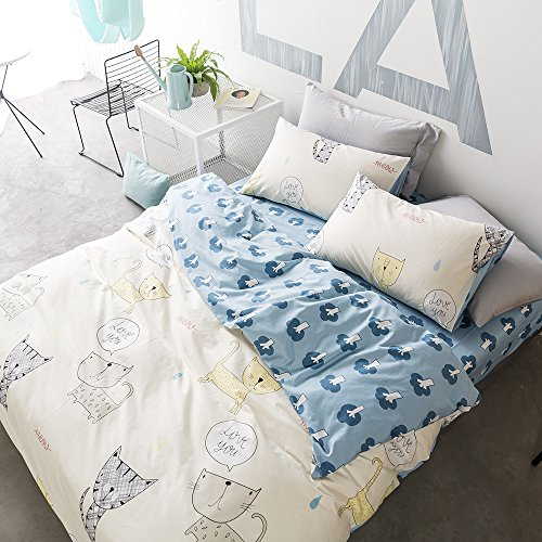 HighBuy Cartoon Printed Kids Bedding Cover Set Full Blue with Cats Pattern Queen Duvet Cover Sets 3 Piece Cotton Quilt Bedding Sets Queen for Boys Girls with Zipper Closure Corner Ties,Style4 - Full Queen Quilt Bedding
