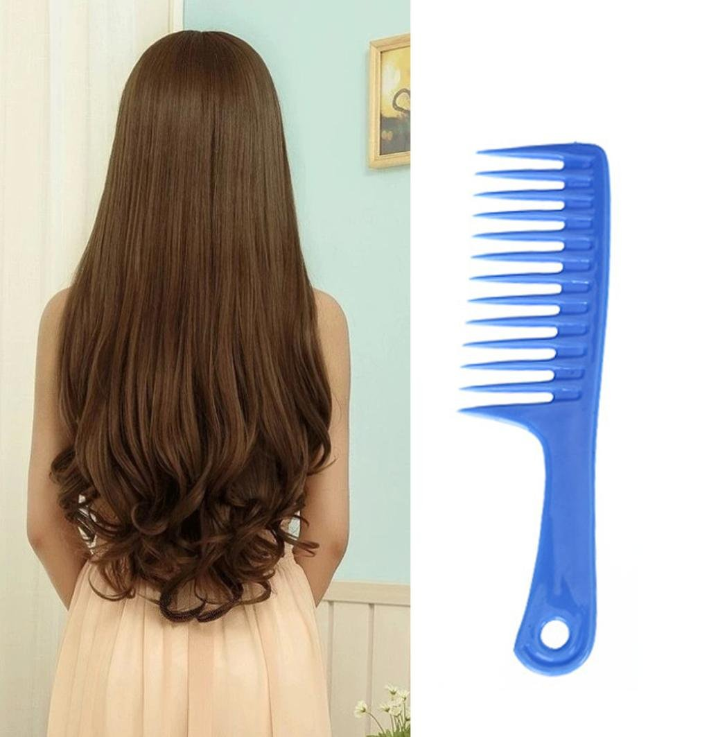 Baomabao Wet Haircut Hair Comb Hairdressing Plastic Handle Wide-tooth Comb (blue)