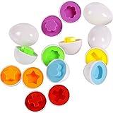 Leisial Set de 6 Huevos Aprender Juegos Educativos Juguetes Mixed Mezcló la Forma Sabia Puzzle para Bebé Niños