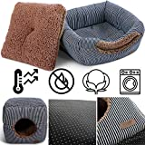 Smiling Paws Pets Unique 2-in-1 Cat Bed/Cat Condo & Cat House   A Cat Cube with Thick Organic Cotton, Plush Sherpa Lining and Side Pocket for Small Toys   13″ x 13″ x 13″ Review
