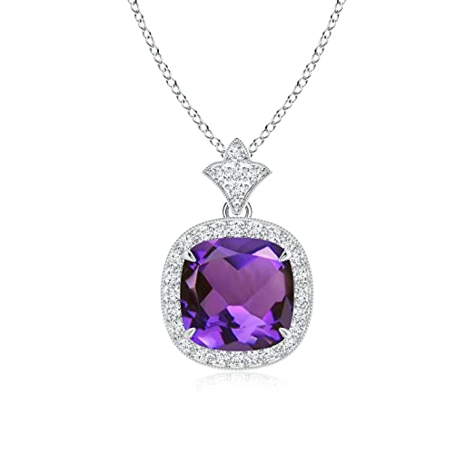 Angara Round Amethyst Necklace Pendant for Women in Platinum AqMUICJW4l