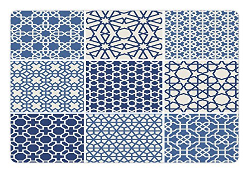 Elements Ottoman (Arabian Pet Mats for Food and Water by Lunarable, Arabesque Islamic Motifs with Geometric Lines Asian Ethnic Muslim Ottoman Element, Rectangle Non-Slip Rubber Mat for Dogs and Cats, Blue White)