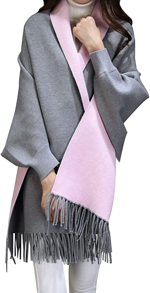 HWJND Cappotto Scialle Oversize Poncho Cloak Shawl Cloak Scarf Dual-Use Female Warm Travel Shawl