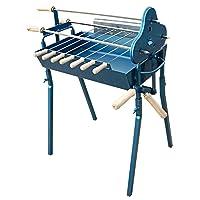 Spießgrill Grill-Set blau XXL Skewer Grill Garten Balkon ✔ eckig ✔ stehend grillen ✔ Grillen mit Holzkohle