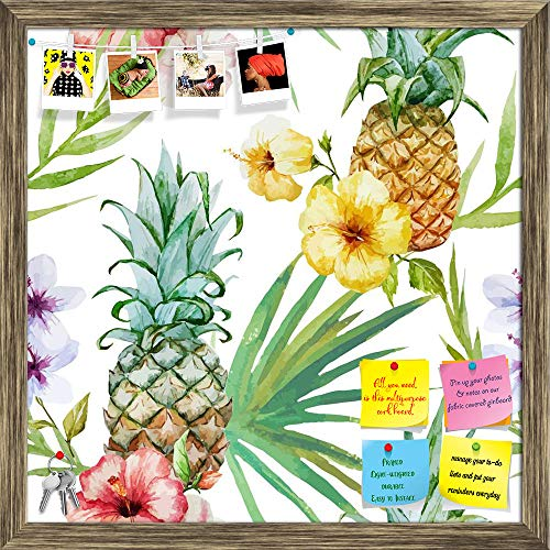ArtzFolio Pineapples & Hibiscus Printed Bulletin Board Notice Pin Board Cum Antique Golden Framed Painting 16 x 16inch
