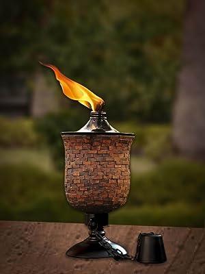 Deco Home Tiki Torch 4 in 1, Mosaic Tulip Jar Garden Torch 64-inch, Deck Torch, Table Torch or Regular Flame Torch