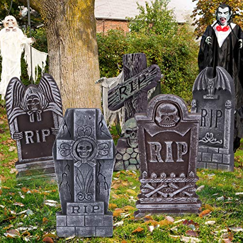 Lightweight Tombstones with Metal Stakes for Halloween Decorations