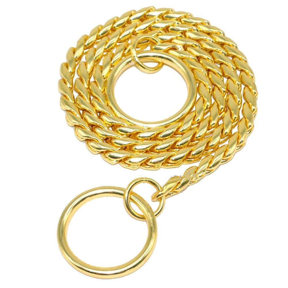 Moonpet P Snake Chain Dog Choke Collar - Heavy Duty for Small Medium Large Dog Breeds - Command Obedience Training Slip Collar (24'', Gold)