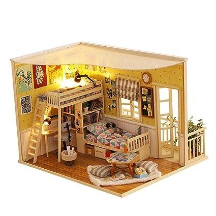 Amazon Com Laideyilan Diy Wooden Dollhouse Kit Hand Assembled Diy