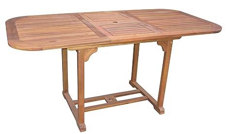 Mesa extensible Boston de madera de acacia, 120 - 160 x 80 x 74 cm, mueble de jardín