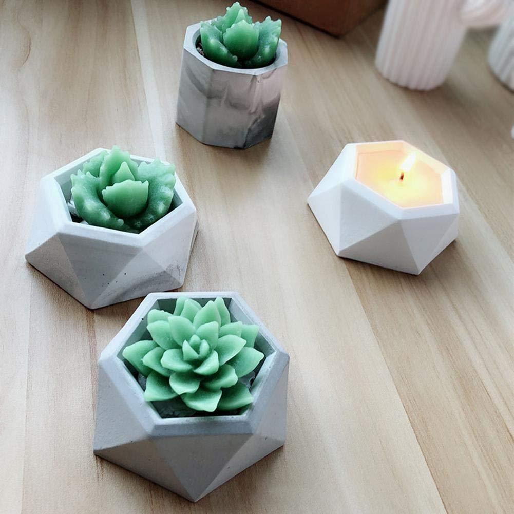Molde de silicona con forma geométrica para macetas, para decorar el hogar o la oficina (color al azar), silicona, A, talla única: Amazon.es: Bricolaje y ...