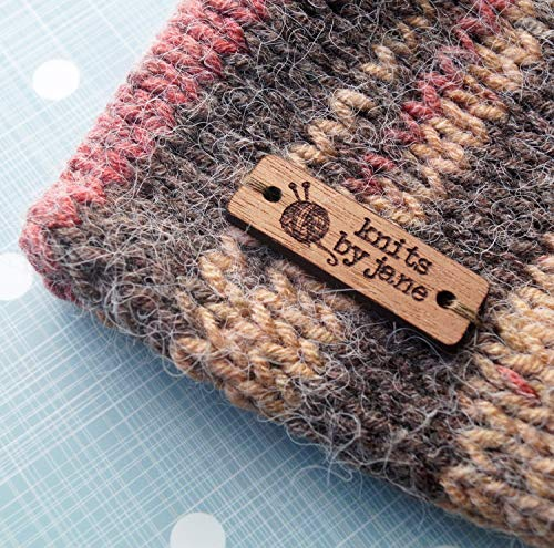 Wooden clothing labels, sew on garment labels, personalized label tags, labels for handmade products, wood labels for knitted items, 25 pc