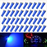 KaTur T5 70 73 74 79 85 86 206 406 LED Bulbs 5050 1SMD Blue 1W 12V Car Interior Instrument Cluster Gauge LED Lights Dashboard Signal LED Bulbs (Pack of 40)