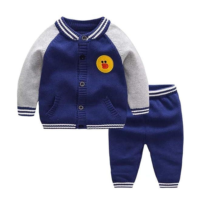 534b14cbe Newborn Baby Boys Girls Top + Pants Outfits Set Knit Sweater Winter (Blue, 0