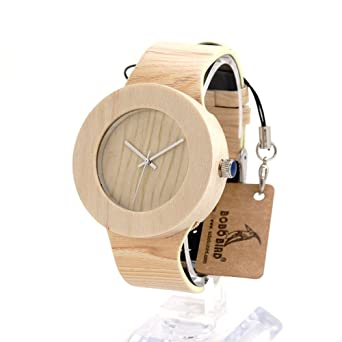Reloj de madera de arce de caja redonda H12, de Bobobird. Con correa de piel de un solo corte: Top Brand Design: Amazon.es: Relojes