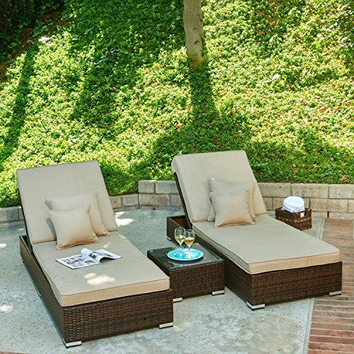 Thy-HOM Lantis 3-Piece All-Weather Wicker Pool Side Lounge Set (Hom Set Furniture Dining)