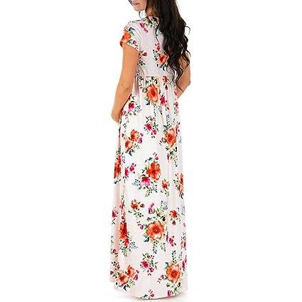 BBsmile Ropa premamá Mujeres Embarazadas Vestido de Embarazo para Lactancia Impresión Floral Vestido Largo Maternidad: Amazon.es: Ropa y accesorios