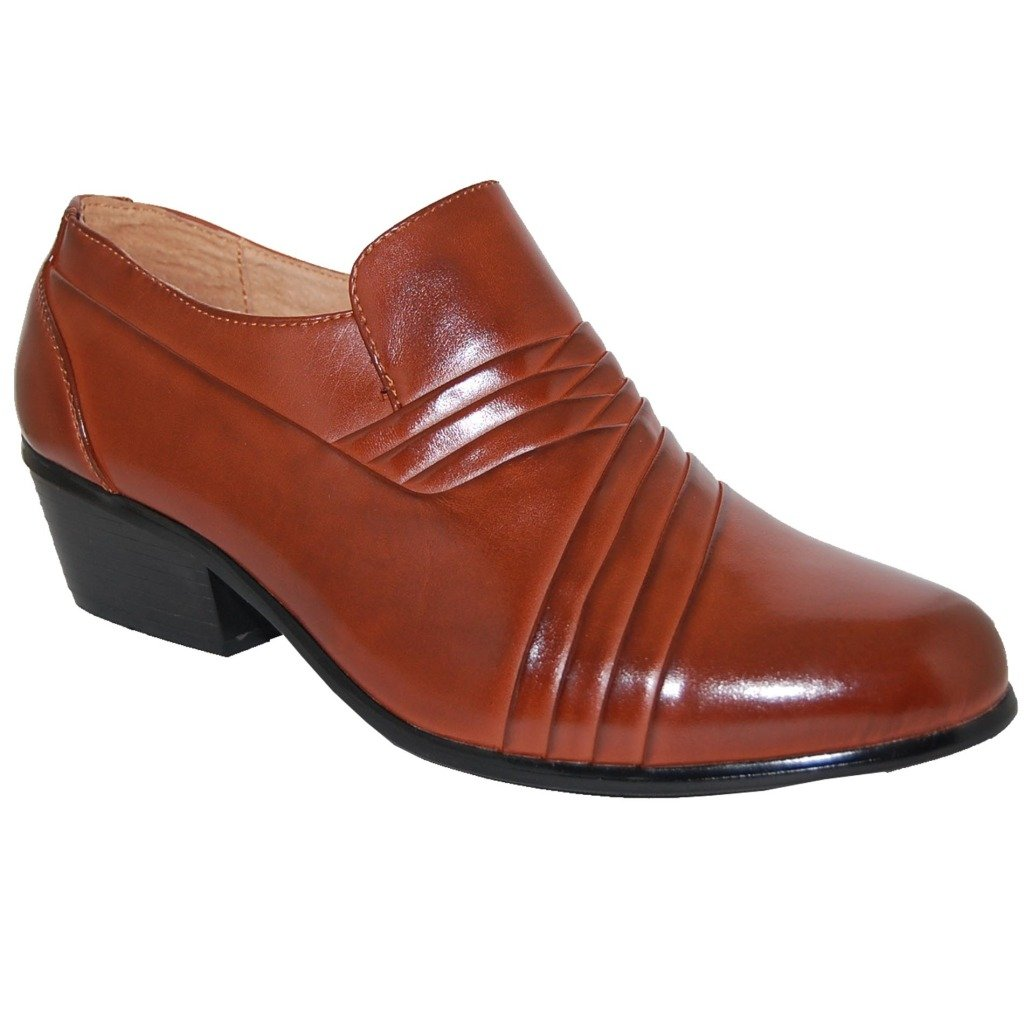 BOSSMAN Brown 2 Inch High Cuban Heel Men Shoes (13D US)