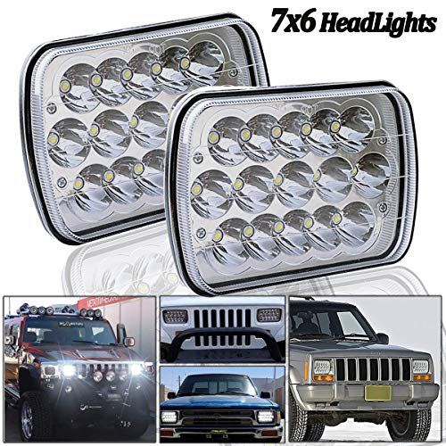 7x6 LED Headlights,2PCS 45W Sealed Beam Rectangular 5x7 LED Headlight High/Low Beam Universal Headlamp Dot Jeep Wrangler YJ XJ Cherokee Toyota Off-road Truck Harness Replace H6054 H5054 H6054LL