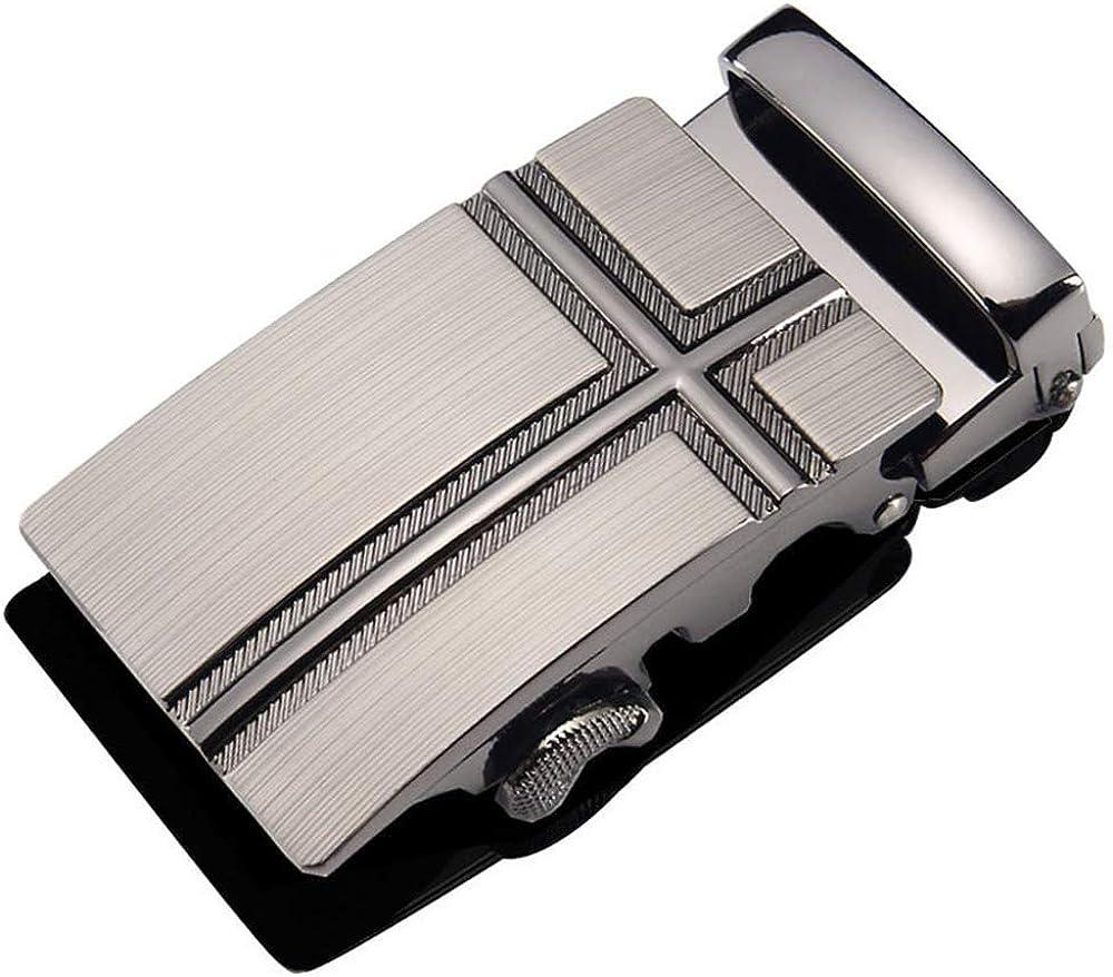 Mens Metal Alloy 40CM Ratchet Belt Buckle Only Business Slide Automatic Belt Buckle Replacement for Leather Belt