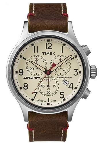 fe79a4cb7fe9 Timex Reloj Cronógrafo para Hombre de Cuarzo con Correa en Cuero TW4B04300   Amazon.es  Relojes