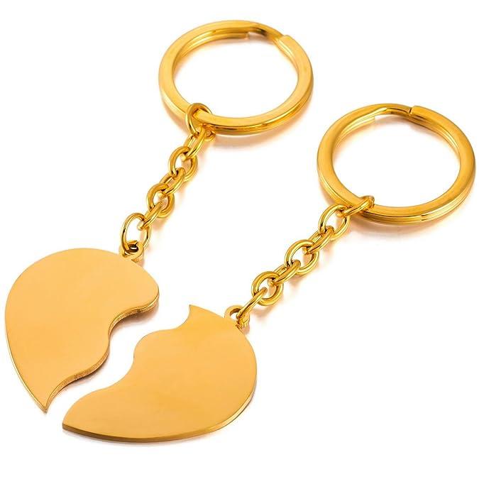 dd893e29aa2a MeMeDIY Or Ton Acier Inoxydable Porte Clés Coeur Cœur Couple Amour Amoureux  - Gravure personnalisée  Amazon.fr  Bijoux