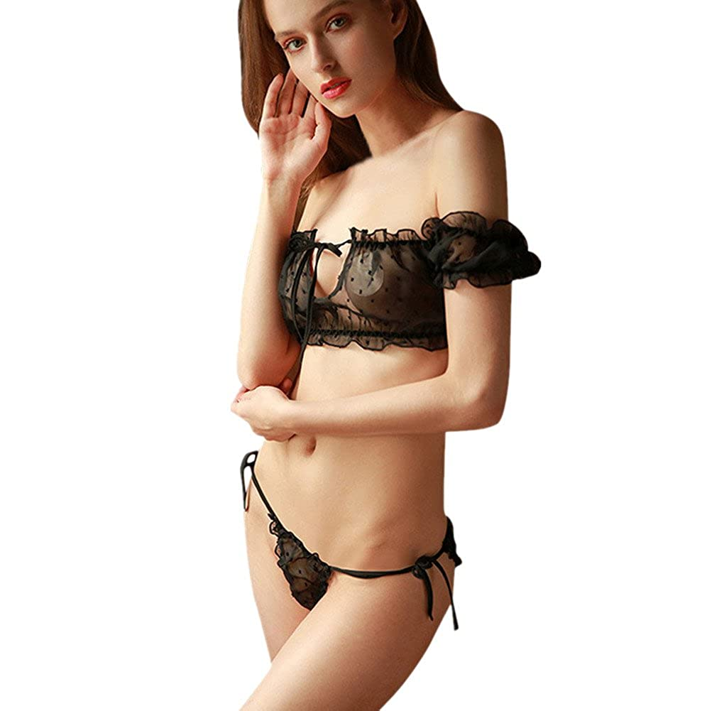 b83bfbfa74210 2PC Women Lingerie Set Mesh Transparent Short Bra Lace-up G-String Teddy  Babydoll (Black