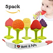 Baby Teething Toys - BPA Free Natural Organic Freezer Safe Teether Set with Pacifier Clip/ Holder Non-Toxic for 3 to 12 Months Babies, Soft Silicone Fruit Teethers Toys, Infant and Toddler(5 pack)